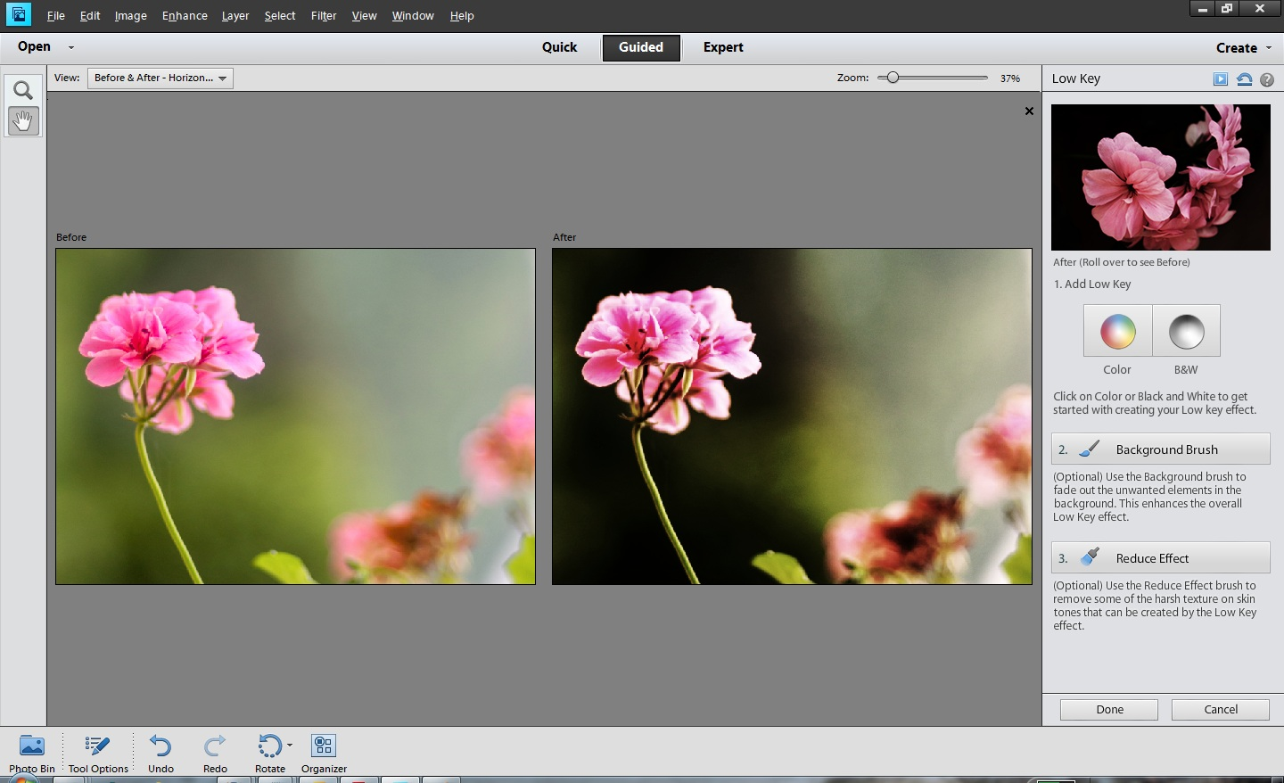 How to use Low Key Guided Edit in Adobe Photoshop Elements