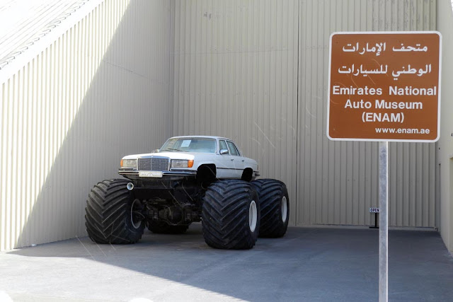 Emirates National Auto Museum entrance and Mercedes monster truck