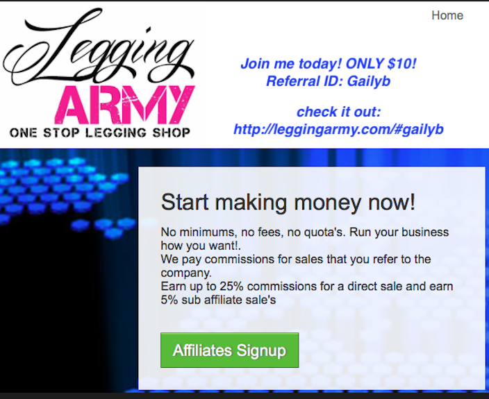 Become a Legging army affiliate for ONLY $10!