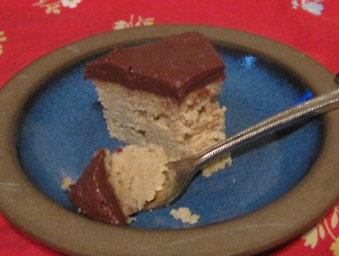 ... Gluten Free Lower Carb Vanilla One Layer Cake with Chocolate Frosting