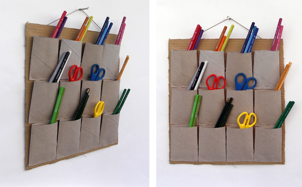 wall mounted storage system,toilet paper roll, recycled, crafts, eco, kids, pen holder, wall pen holder