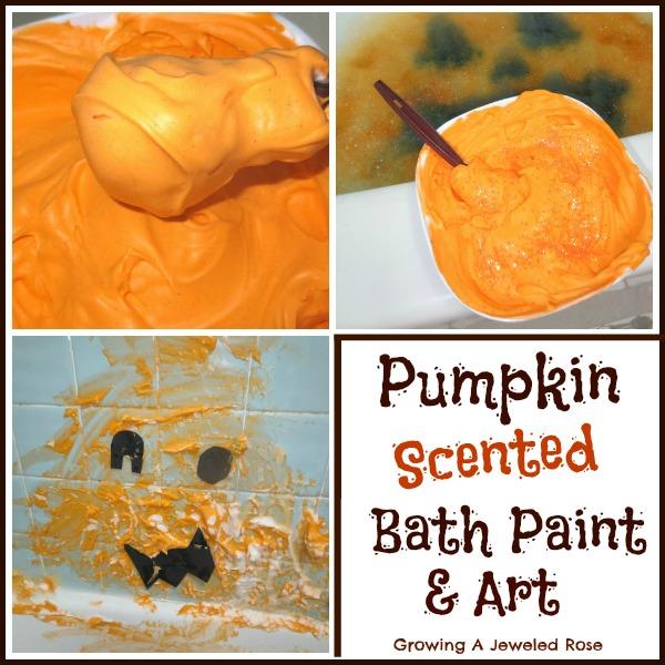 homemade bath paint- pumpkin bath time paint