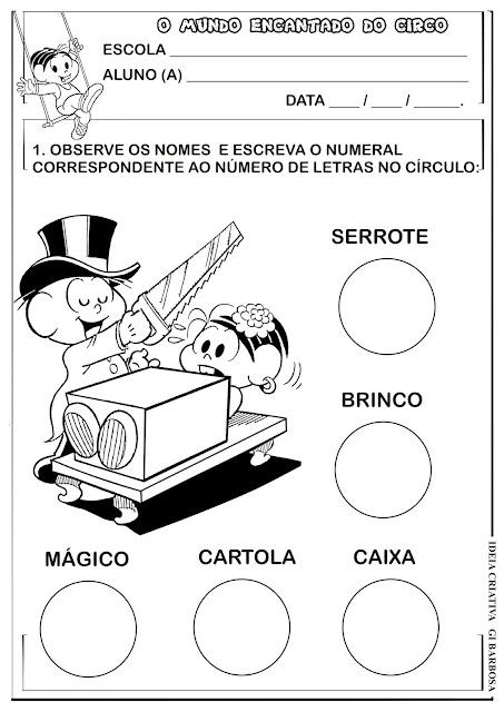 Contando Letrinha Projeto Circo Turma da Mônica