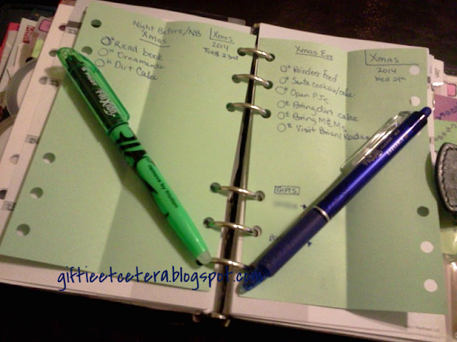 planner; planner pages; planning projects; Christmas plans; frixion pens