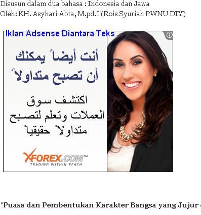 Contoh iklan tampil dalam body post