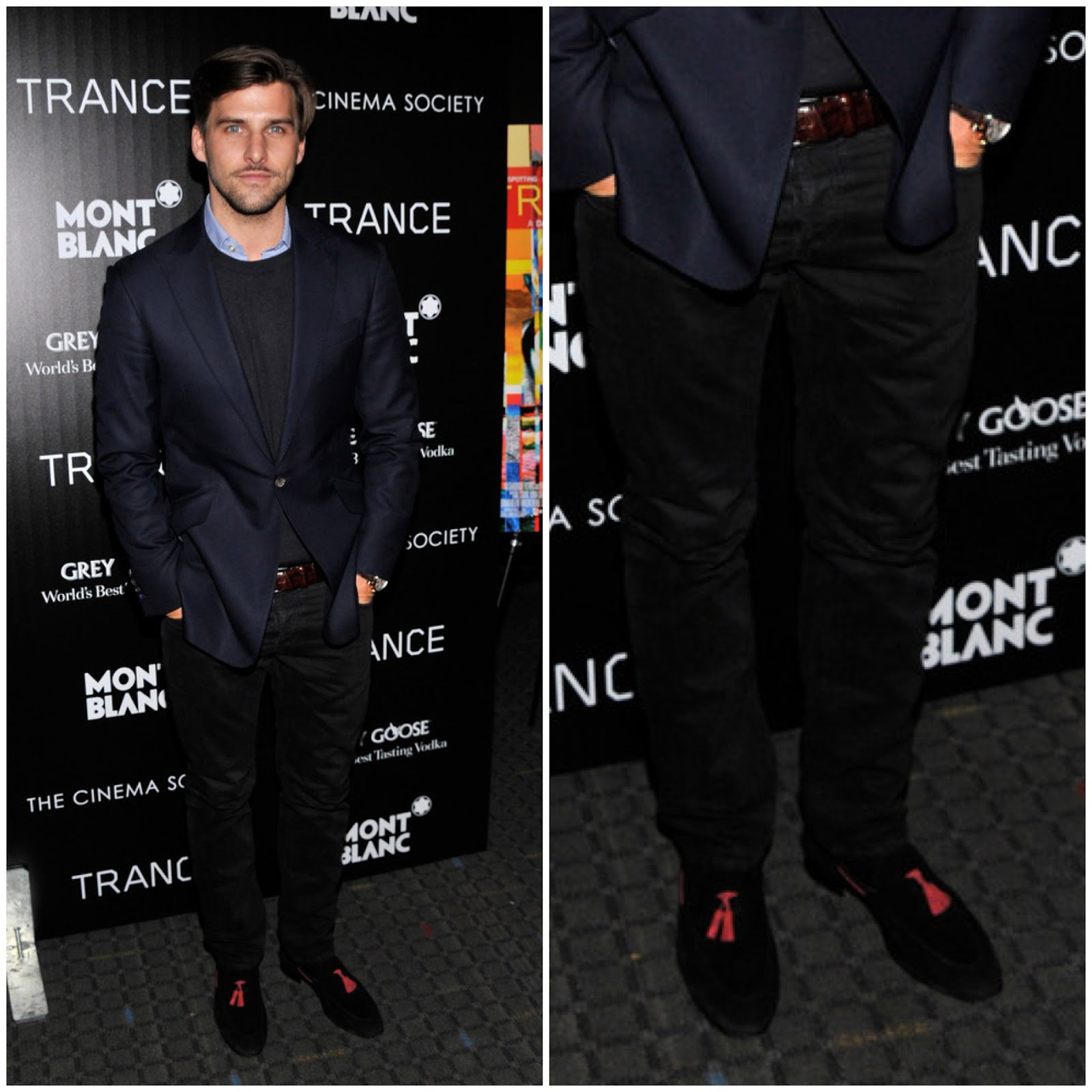 00O00 Menswear Blog Johannes Huebl's Scarosso Mezzano brown suede orange tasselled shoes - premiere of Fox Searchlight Pictures Trance hosted by The Cinema Society & Montblanc at SVA Theater on April 2, 2013 in New York City