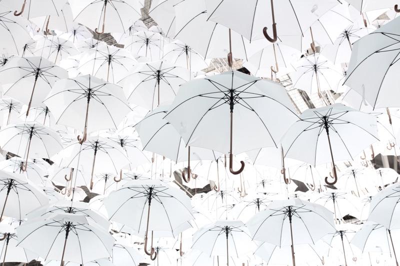 katosta riippuvat sateenvarjot
