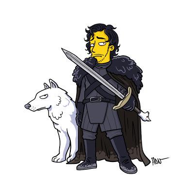 Jon Nieve y Fantasma los simpsons - Juego de tronos en los siete reinos