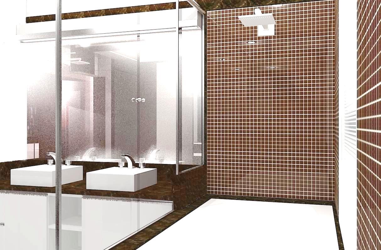 vista da cozinha para sala de estar suíte suíte banheiro da suíte #412D1C 1214 799