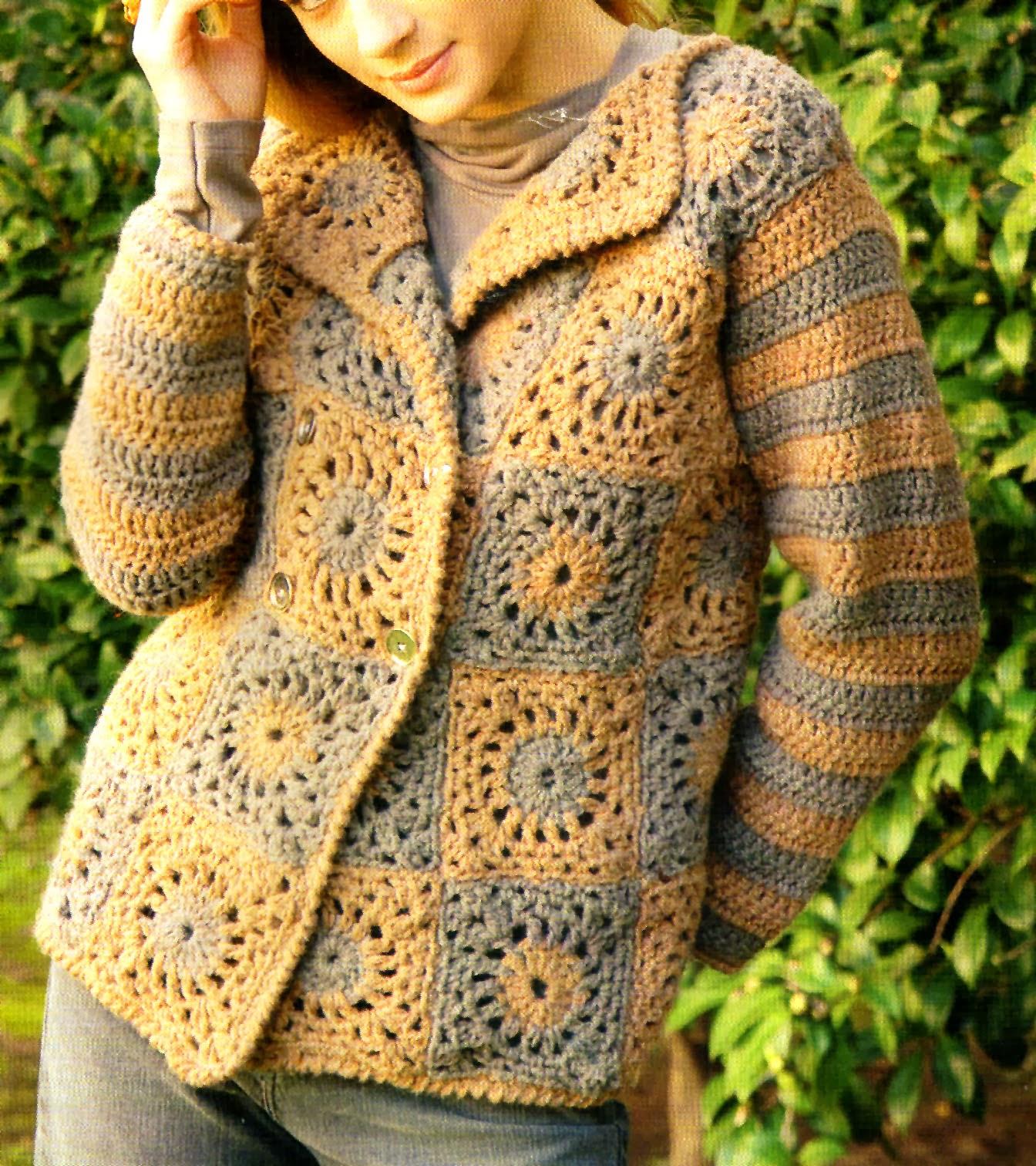 tejidos artesanales en crochet sobrio sacon tejido en crochet talle medium. Black Bedroom Furniture Sets. Home Design Ideas