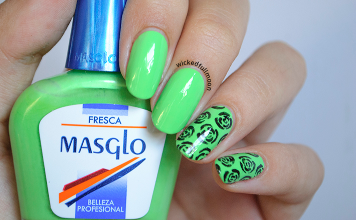 Nail Art | Estampado de rosas Fresca de Masglo. - Wicked Fullmoon
