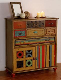 mueble cajones desigual, mueble mucho colores, mueble colorido, cajonera colores, comoda colores, mobilirio diferente