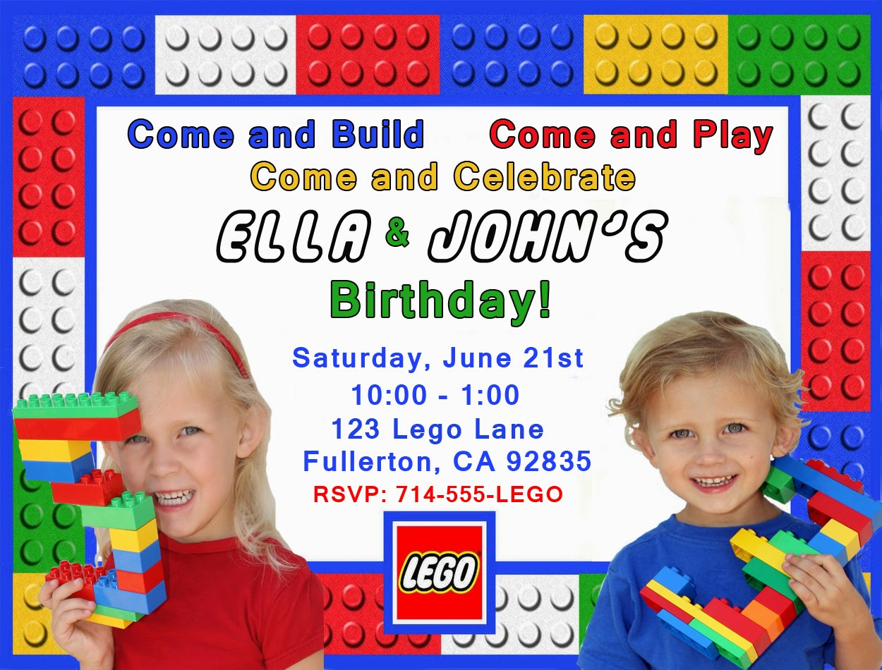 Invite And Delight Lego Birthday Party - Lego birthday invitation template free