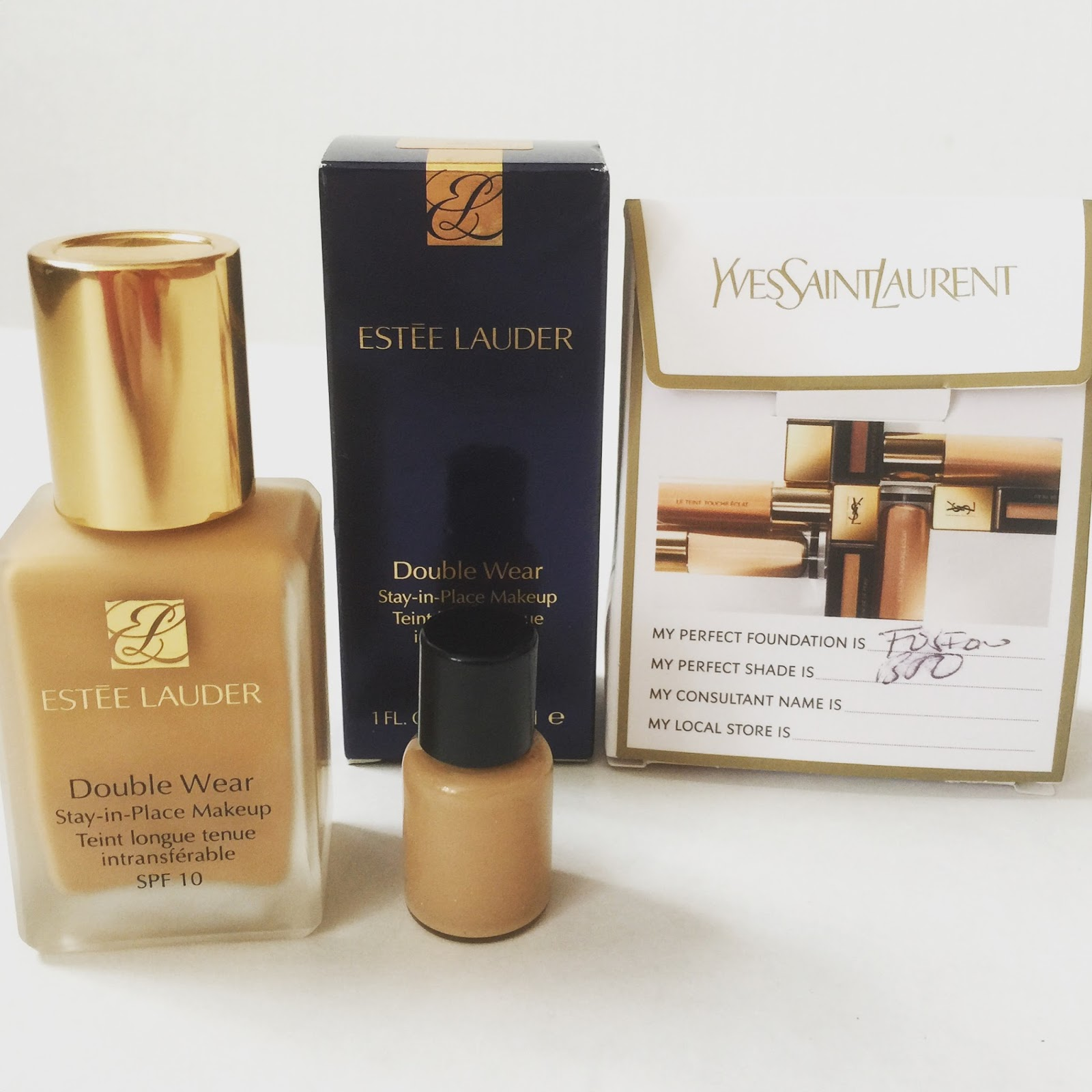 Yves Saint Laurent Fusion Ink Foundation, Estee Lauder Double Wear Stay-in-Place Makeup SPF10