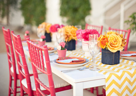 runner wedding Tablescapes Entertaining: Chevron Stylish table  chevron