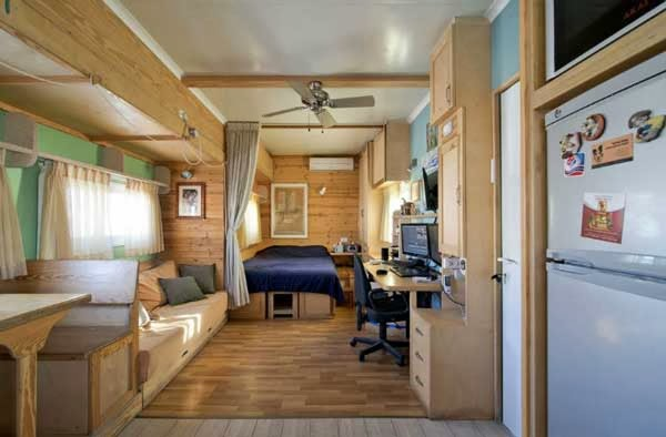 Truck transformed into a living space