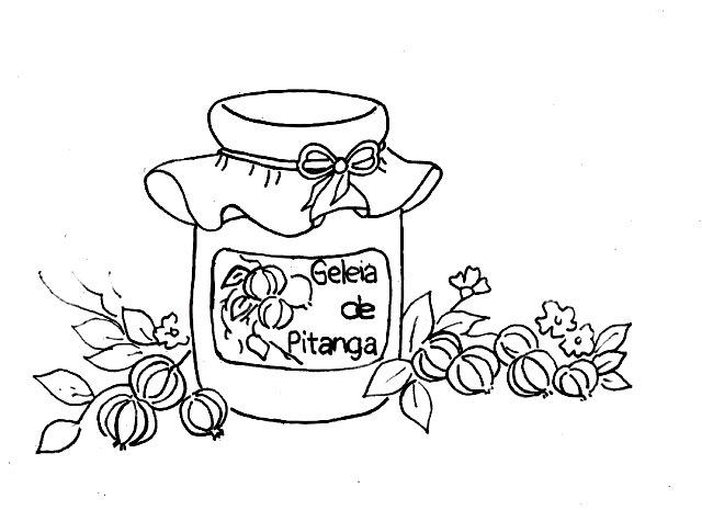 desenho pote de geleia de pitanga para pintar
