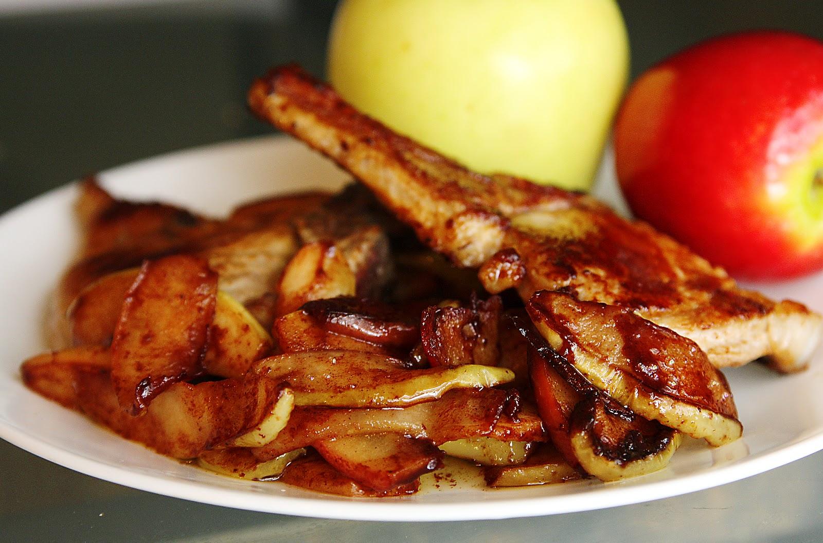 Skillet Pork with Sweet Spiced Apples #SundaySupper -