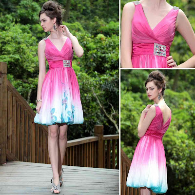 Print Fuchsia V-Neck Knee Length Dress