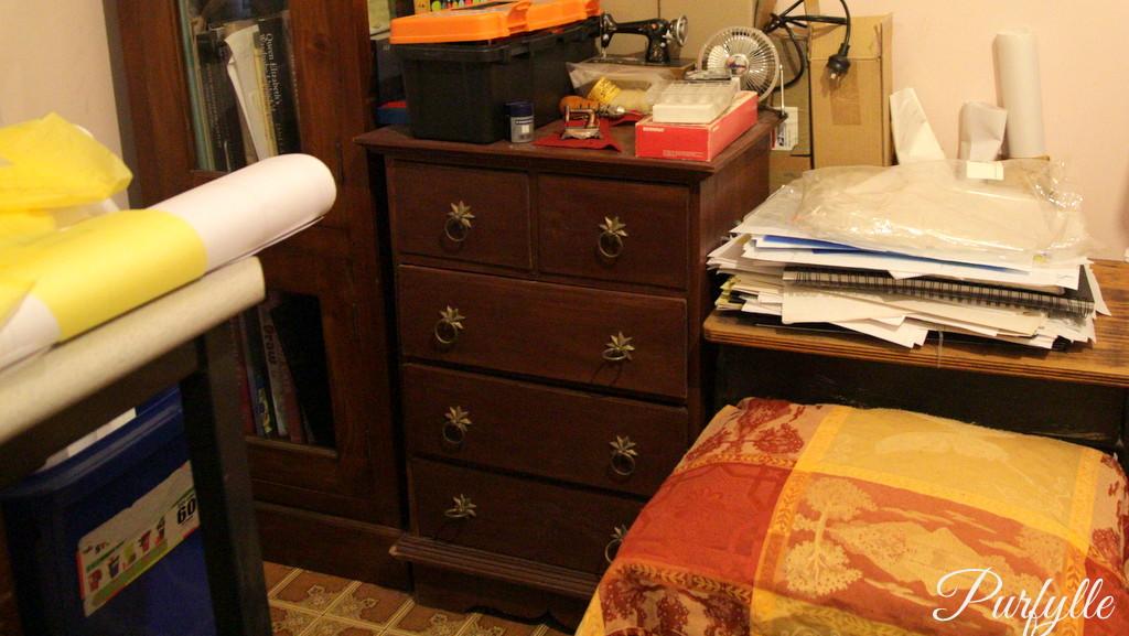 tool cabinet, school table, cutting table, pattern bin