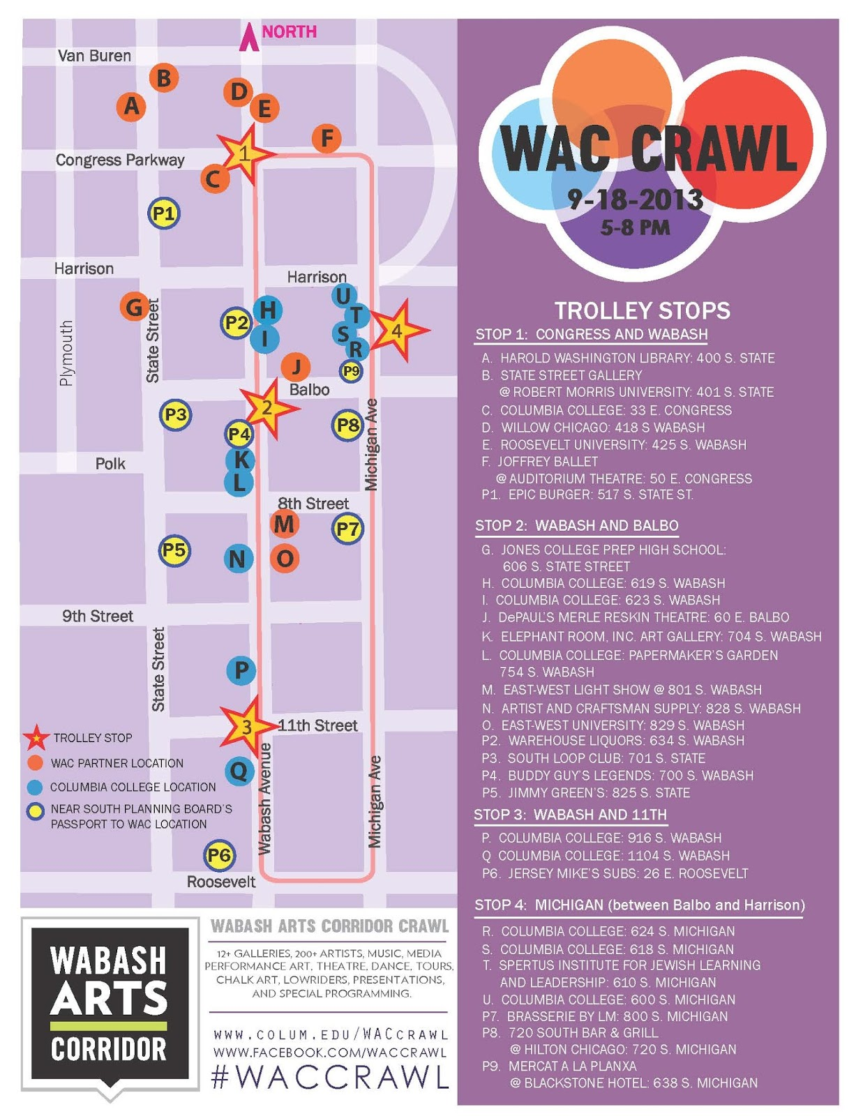 South Loop Connection Wabash Arts Corridor Crawl - Chicago map south loop