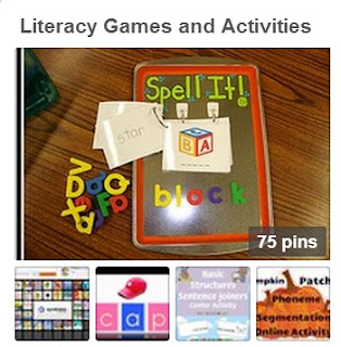 Literacy Games and Activities Pinterest Board Image
