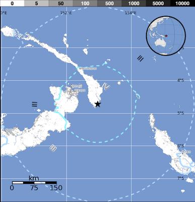 Epicentro sismo 6,0 grados, Nueva Bretaña, Papúa Nueva Guinea, 15 de Diciembre 2012
