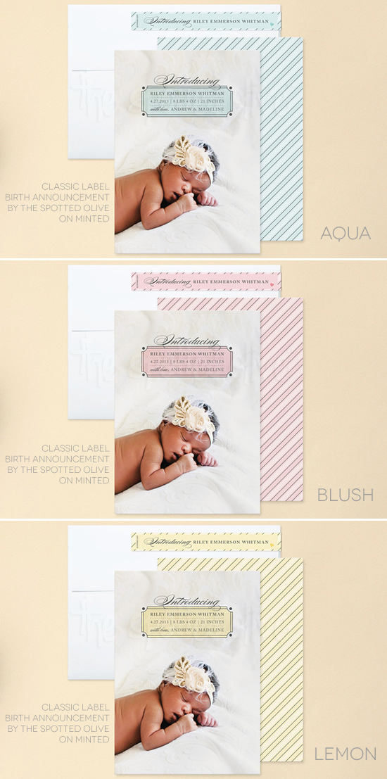 Classic Label Baby Birth Announcements by The Spotted Olive on Minted