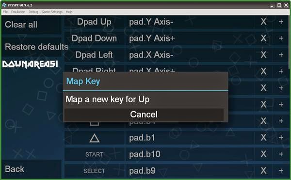 final step to change controls ppsspp
