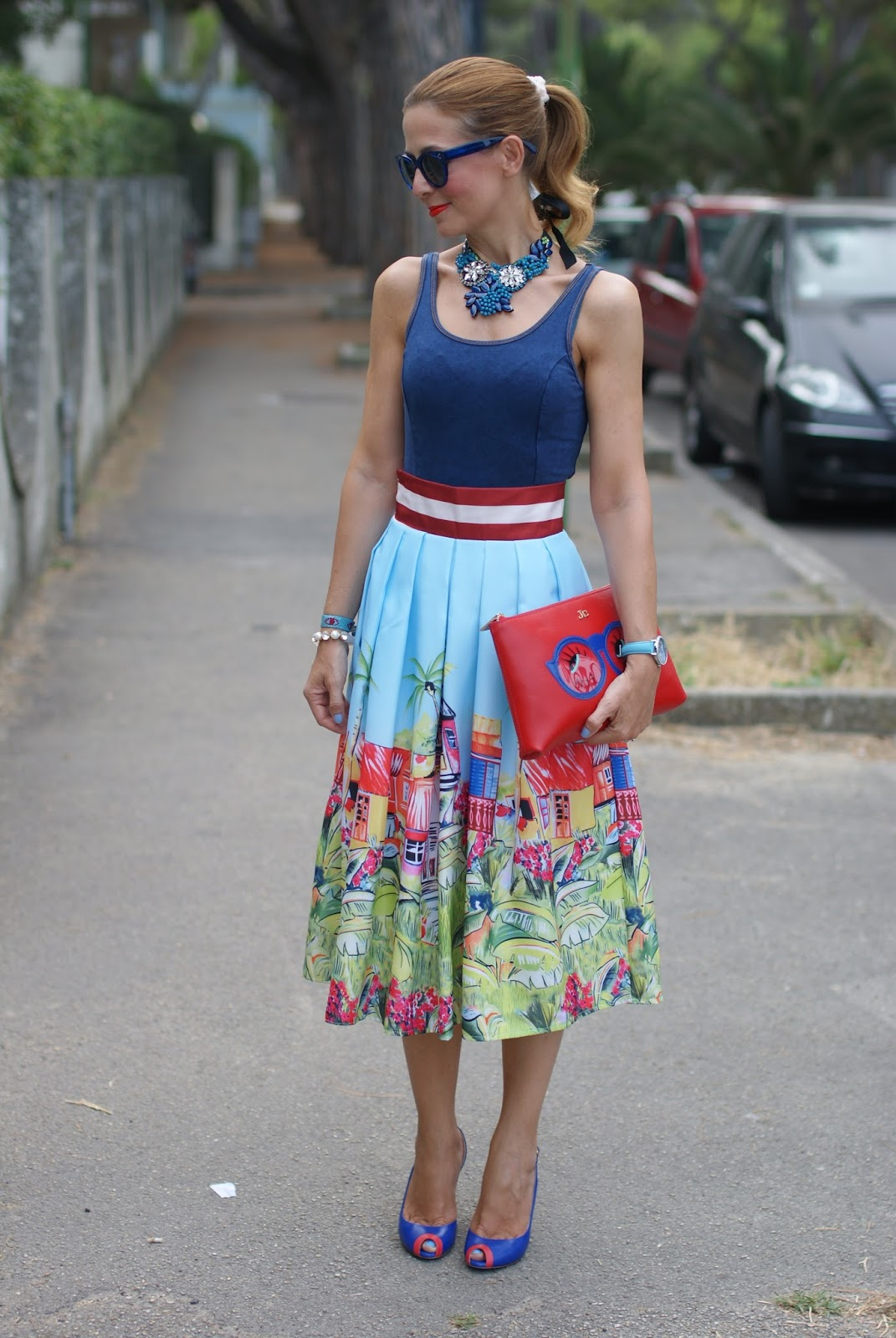 Hype Glasses new summer 2015 collection, Zaful village print midi skirt and on Fashion and Cookies fashion blog