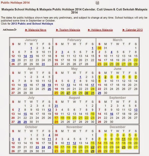 jadual cuti sekolah 2014, takwim 2014, public holiday 2014, Malaysia