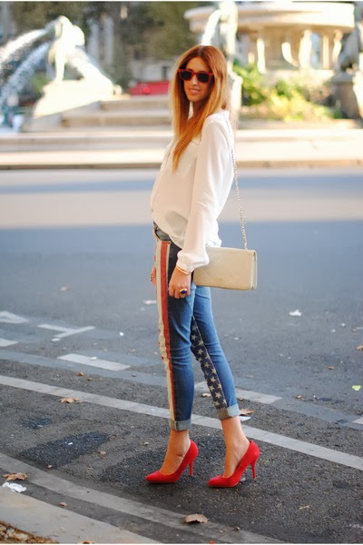 Street Wear, 4th of July Outfit, Flag Jeans, American Rag, Red Pumps