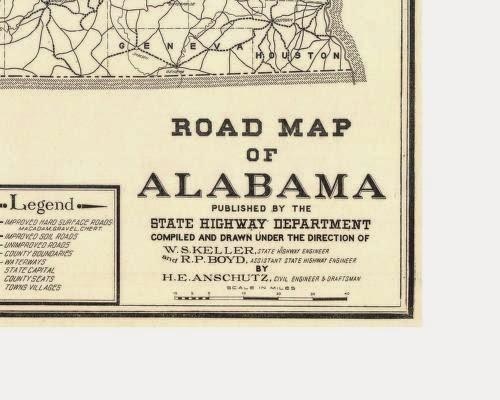 Alabama Yesterdays Pondering Alabama Maps Early State Road Maps - Road map alabama