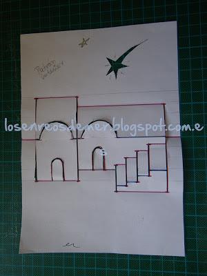 Patrón de tarjeta navideña realizada con la técnica de kirigami