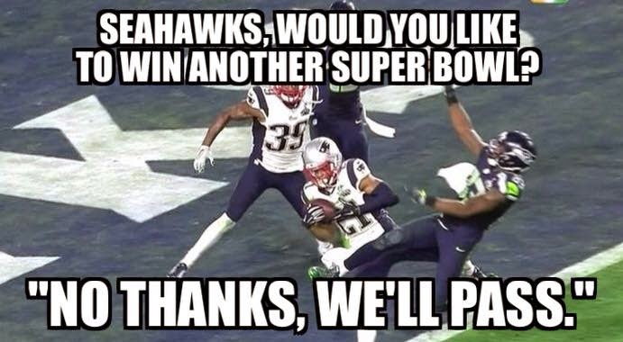 "seahawks, would you like to win another super bowl? ""no thanks, we'll pass."""