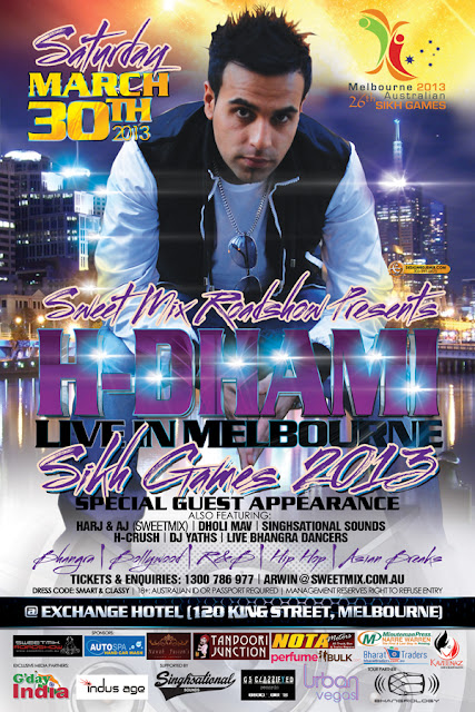 H-Dhami Live In Melbourne Australia Sikh Games 2013 Flyer Design