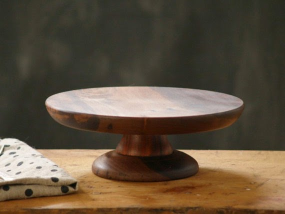 walnut wood hand carved cake stand