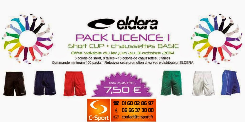 PACK LICENCE FOOTBALL 1 = Short CUP + Chaussettes BASIC = 7.50 €
