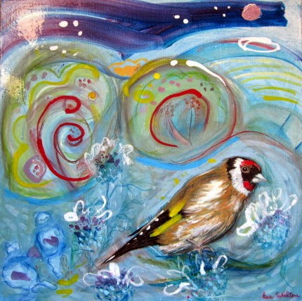 goldfinch painting, bird art, mixed media painting, wild bird painting, blue painting, abstract art, art for sale,