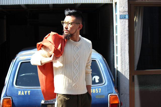 gantrugger 14fw ガントラガー R.Laminated Coat Cable knit sweater crewneck
