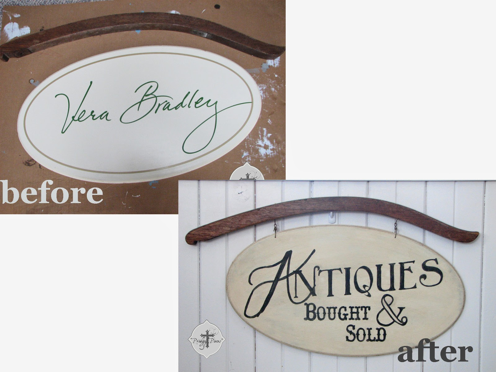 How to Paint an Antique Style Sign via Prodigal Pieces @ http://knickoftimeinteriors.blogspot.com/