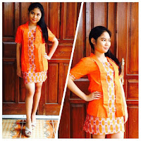 model baju batik dress modern jingga
