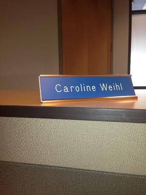 Caroline's name plate