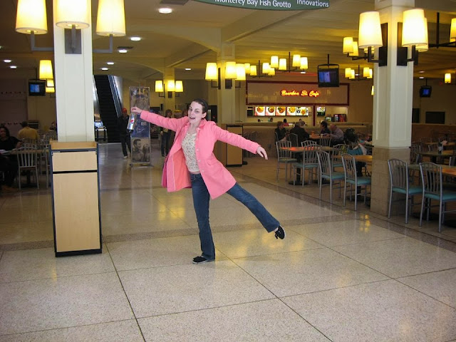 Monroeville Mall, pink coat, silly girl, Monroeville Mall food court, dumb teen girl