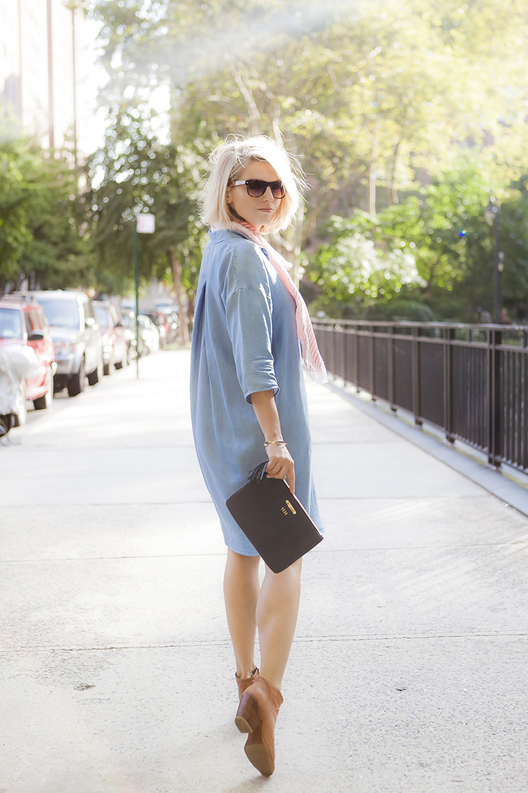 Golden hour sunshine, oversized chambray shirtdress, monogrammed clutch, tortoiseshell sunglasses, messy blond bob