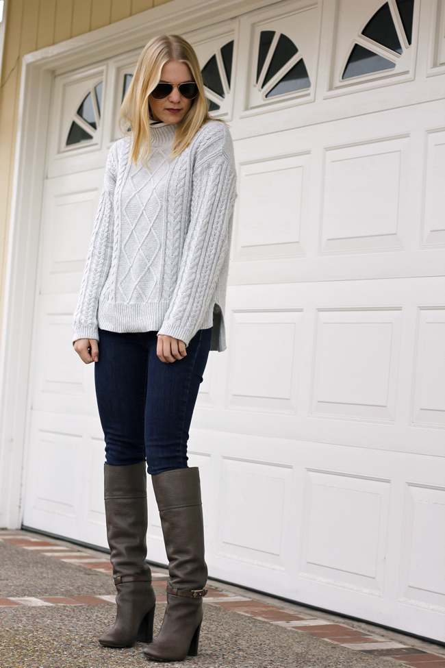 Shae Roderick, grey sweater, cable knit, denim, Tory Burch, boots