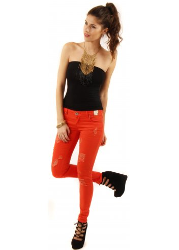 Parisian Orange super skinny jeans