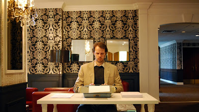 Andrew Wodzianski at (e)merge art fair doing Jack Torrance from Stephen King's The Shining