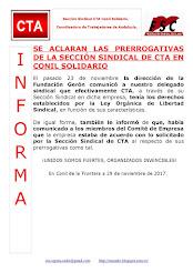 SE ACLARAN LAS PRERROGATIVAS DE LA SECCIÓN SINDICAL DE CTA EN CONIL SOLIDARIO