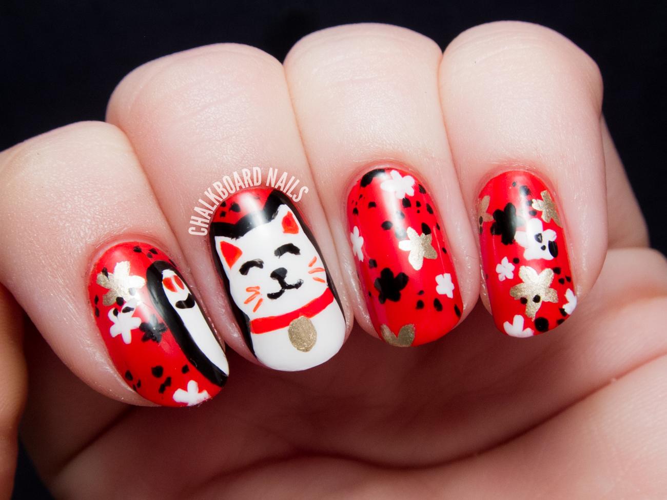 The Lacquer Legion Lucky: Maneki-Neko (Lucky Cat) Nail Art ...